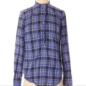 J. Crew | long sleeve blue plaid henley blouse